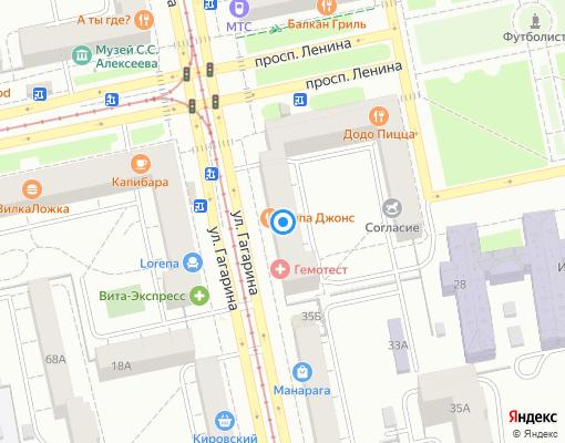 Жилищно-строительный кооператив «Гагарина-33» на карте Екатеринбурга
