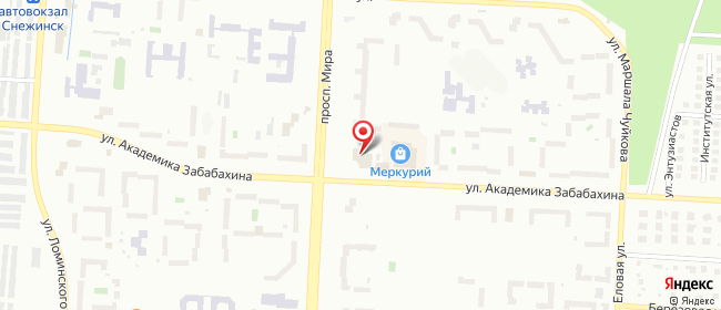 Карта расположения пункта доставки Снежинск Забабахина в городе Снежинск
