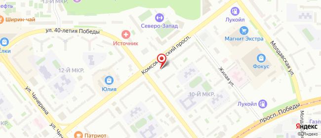 Карта расположения пункта доставки Челябинск Комсомольский в городе Челябинск