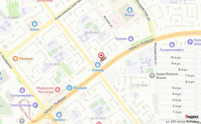 Карта расположения пункта доставки Челябинск Победы в городе Челябинск