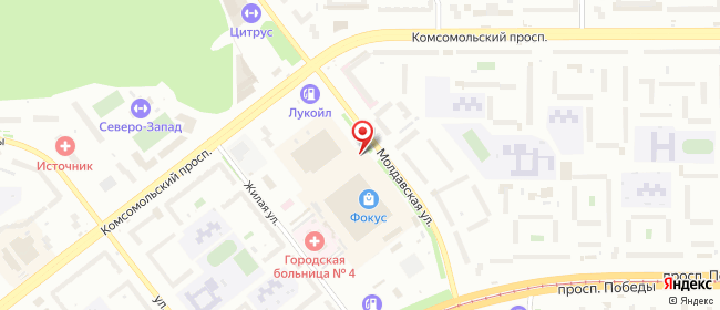 Карта расположения пункта доставки Челябинск Молдавская в городе Челябинск