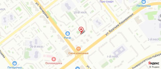Карта расположения пункта доставки Челябинск Чичерина в городе Челябинск