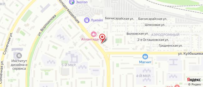 Карта расположения пункта доставки На Куйбышева в городе Челябинск
