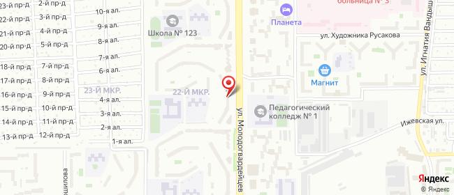 Карта расположения пункта доставки На Молодогвардейцев в городе Челябинск
