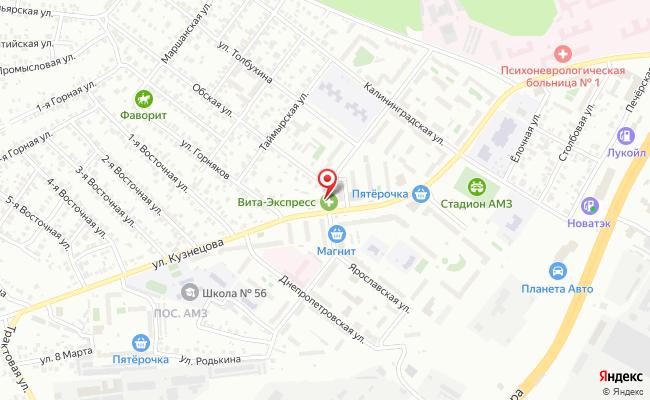 Карта расположения пункта доставки Челябинск Кузнецова в городе Челябинск