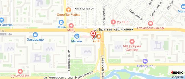Карта расположения пункта доставки Челябинск Братьев Кашириных в городе Челябинск