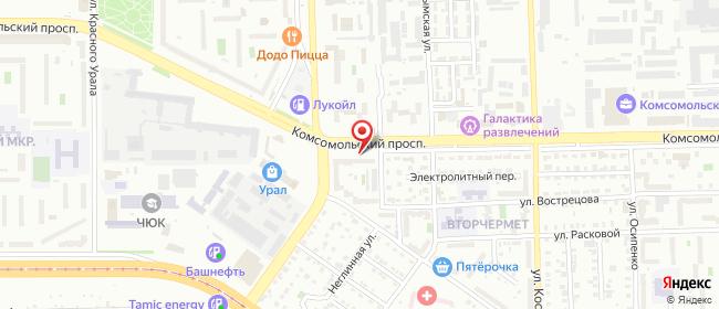 Карта расположения пункта доставки Челябинск Чайковского в городе Челябинск
