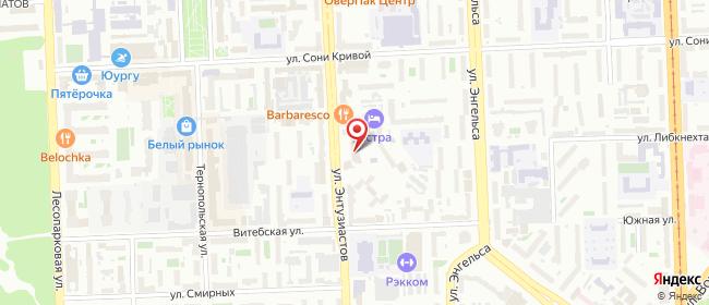 Карта расположения пункта доставки Челябинск Энтузиастов в городе Челябинск