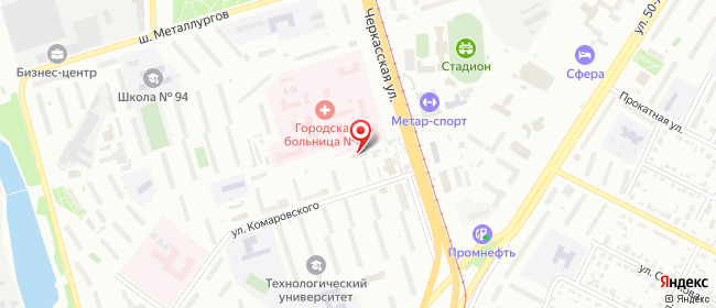 Карта расположения пункта доставки Челябинск Комаровского в городе Челябинск