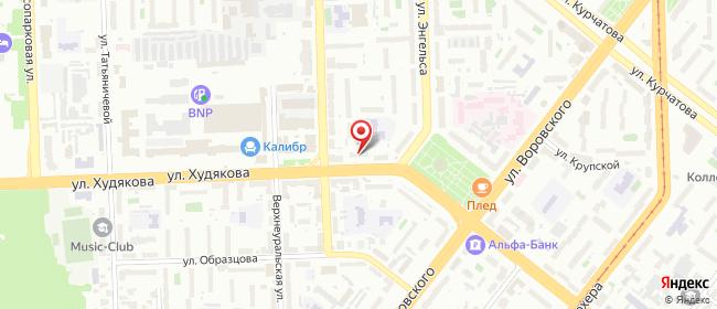 Карта расположения пункта доставки На Худякова в городе Челябинск