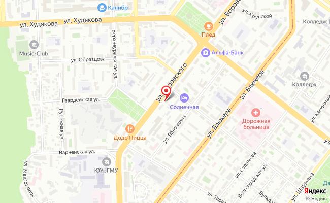 Карта расположения пункта доставки Челябинск Воровского в городе Челябинск