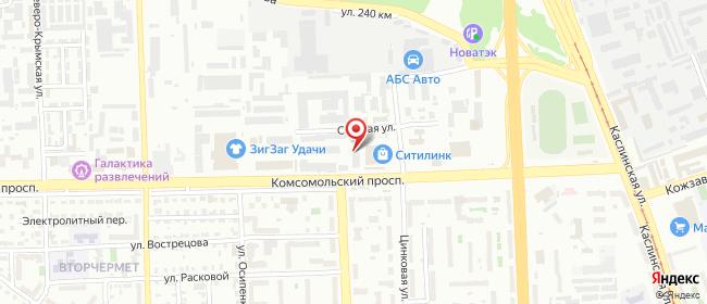Карта расположения пункта доставки На Комсомольском в городе Челябинск