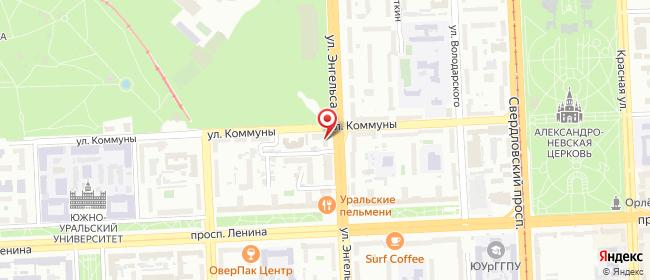 Карта расположения пункта доставки На Энгельса в городе Челябинск