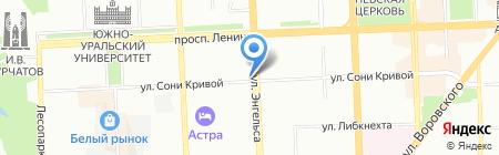 Красный на карте Челябинска