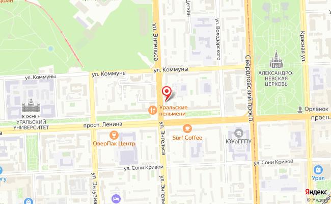 Карта расположения пункта доставки Челябинск Энгельса в городе Челябинск