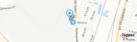 Вееро на карте Челябинска