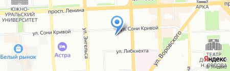 Уральский лес-74 на карте Челябинска