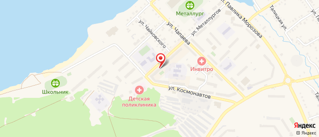 Карта расположения пункта доставки Реж Металлургов в городе Реж