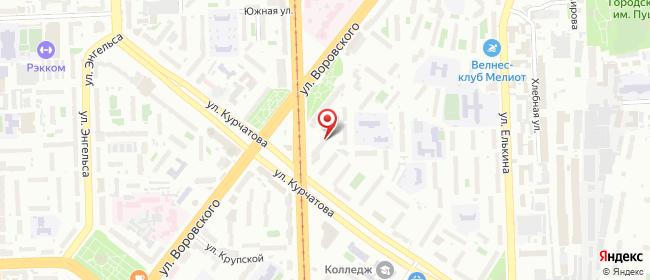 Карта расположения пункта доставки Челябинск Курчатова в городе Челябинск