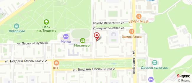 Карта расположения пункта доставки Челябинск Дегтярева в городе Челябинск
