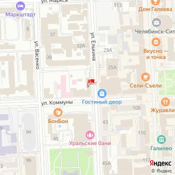 г. Челябинск, ул. Елькина,36 на карта