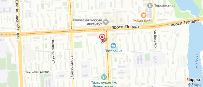 Карта расположения пункта доставки Челябинск Кирова в городе Челябинск