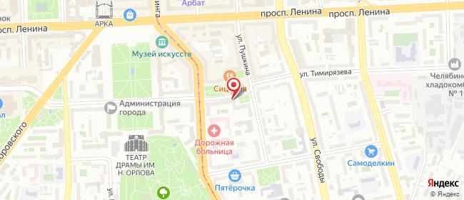 Карта расположения пункта доставки Челябинск Тимирязева в городе Челябинск