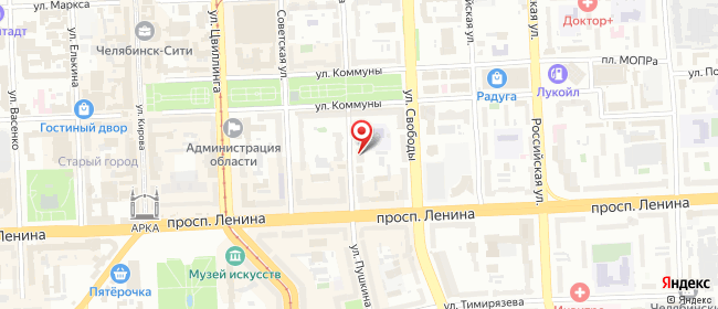 Карта расположения пункта доставки Челябинск Пушкина в городе Челябинск