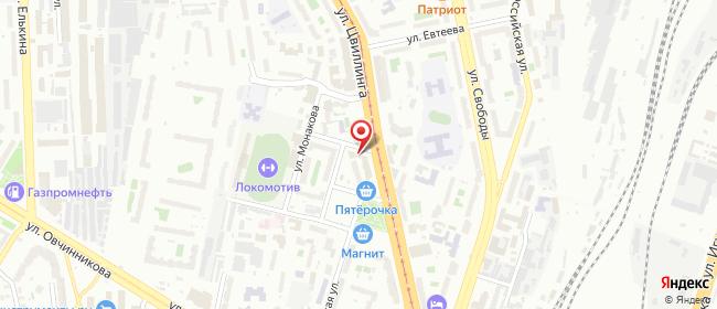 Карта расположения пункта доставки Челябинск Цвиллинга в городе Челябинск
