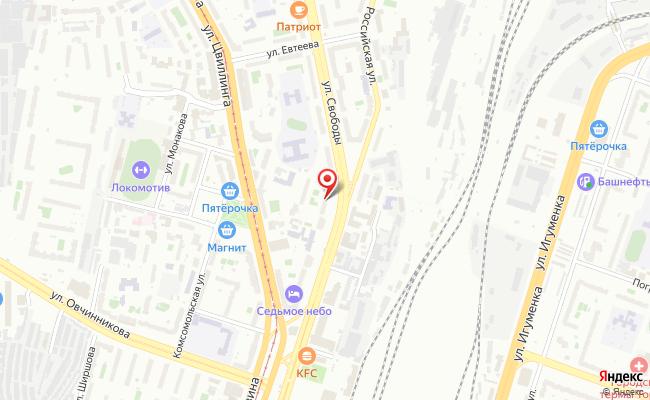 Карта расположения пункта доставки Челябинск Свободы в городе Челябинск