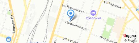 Автокомплекс на Пограничной на карте Челябинска