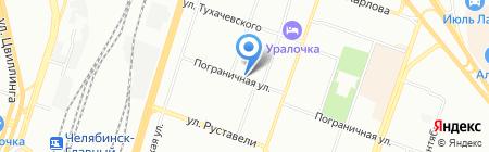 Продуктовый магазин на Пограничной на карте Челябинска