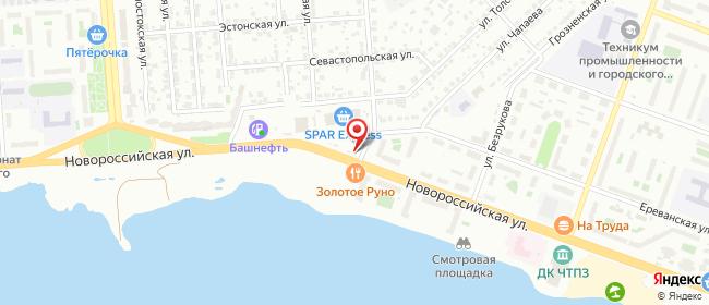 Карта расположения пункта доставки Челябинск Новороссийская в городе Челябинск