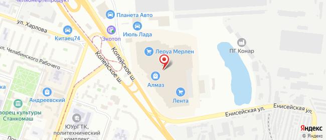 Карта расположения пункта доставки Челябинск Копейское в городе Челябинск