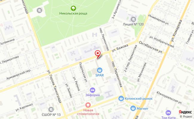 Карта расположения пункта доставки Челябинск Бажова в городе Челябинск