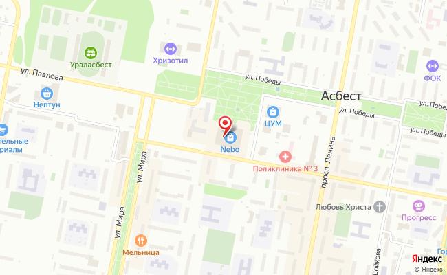 Карта расположения пункта доставки 220 вольт в городе Асбест