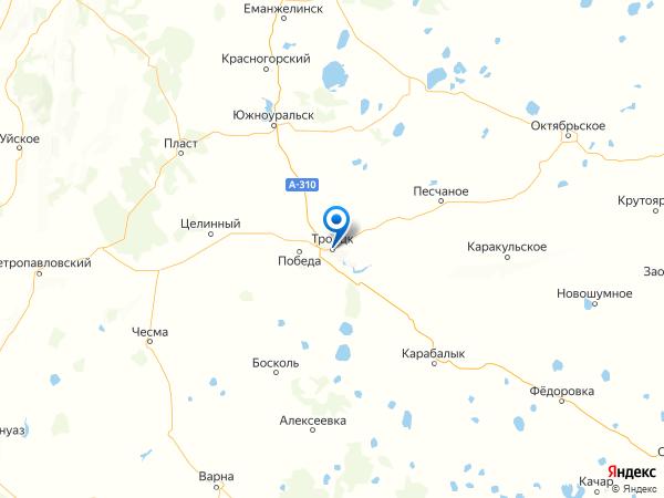 Троицк на карте