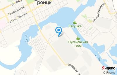 Местоположение на карте пункта техосмотра по адресу 457100, Челябинская обл, г Троицк, пос Южный, промплощадка ТДЗ, участок №1