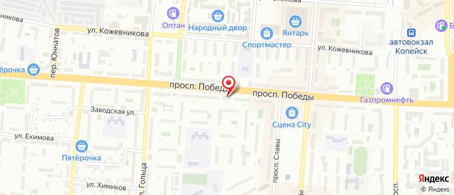 Карта расположения пункта доставки Ростелеком в городе Копейск