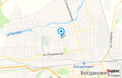 Местоположение на карте пункта техосмотра по адресу Свердловская обл, Богдановичский р-н, г Богданович, ул Школьная, д 6