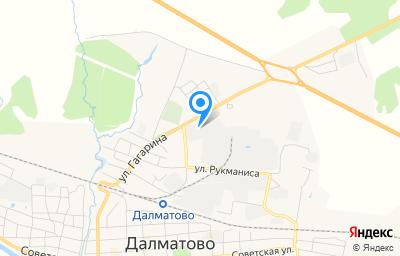 Местоположение на карте пункта техосмотра по адресу Курганская обл, г Далматово, ул Рукманиса, д 31