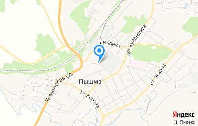 Местоположение на карте пункта техосмотра по адресу Свердловская обл, Пышминский р-н, пгт Пышма, ул Заводская, д 3