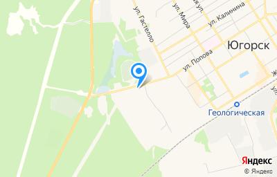 Местоположение на карте пункта техосмотра по адресу Ханты-Мансийский Автономный округ - Югра АО, г Югорск, ул Попова, д 1