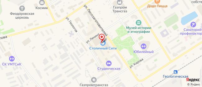 Карта расположения пункта доставки Югорск Ленина в городе Югорск