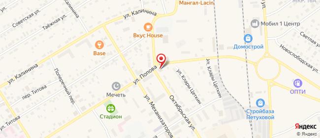 Карта расположения пункта доставки На Октябрьской в городе Югорск