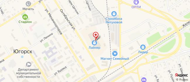 Карта расположения пункта доставки Westfalika в городе Югорск
