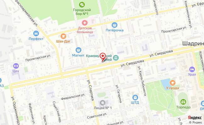 Карта расположения пункта доставки Шадринск Свердлова в городе Шадринск