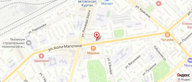 Карта расположения пункта доставки Westfalika в городе Курган