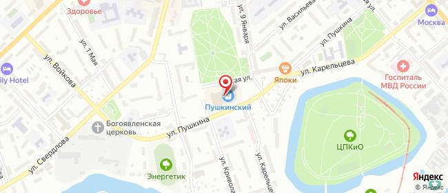 Карта расположения пункта доставки Курган Пушкина в городе Курган