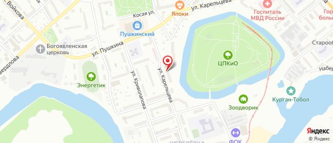 Карта расположения пункта доставки Курган Карельцева в городе Курган